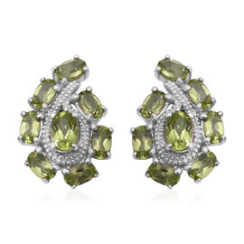4.26 Ct AA Hebei Peridot Cluster Stud Earrings in Rhodium Plated Sterling Silver