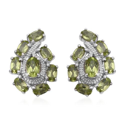 4.26 Ct AA Hebei Peridot Cluster Stud Earrings in Rhodium Plated Sterling Silver