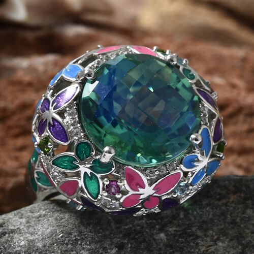 GP Peacock Triplet Quartz (Rnd 14.40 Ct), Swiss Blue Topaz, Russian Diopside and Multi Gemstone Butterfly Ring in Enamel and Platinum Overlay Sterling Silver 15.250 Ct. Silver wt 11.33 Gms.