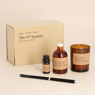 The 5th Season Aromatherapy (Includes Scented Candle, Reed Diffuser, Massage Oil and Wooden Tray)