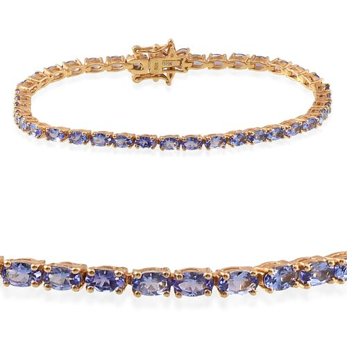 Tanzanite (Ovl), Diamond Tennis Bracelet (Size 8) in 14K Gold Overlay Sterling Silver 9.005 Ct.