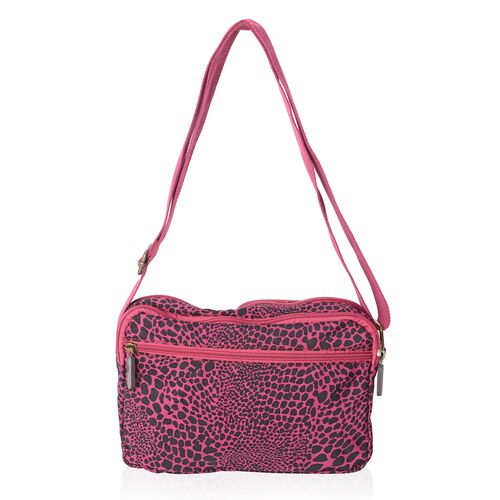 Annabelle Water Resistant Fuchsia Leopard Cross Body Bag and External Zipper Pockets (Size 23x18x7 Cm)