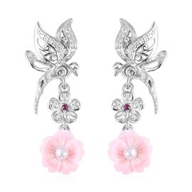 Jardin Collection Mother of Pearl and Multi Gemstone Floral Earrings in Rhodium Plated Silver