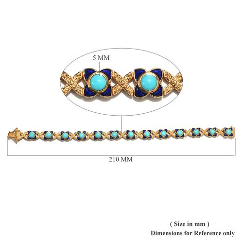 AA Arizona Sleeping Beauty Turquoise Enamelled Bracelet (Size 8) in 14K Gold Overlay Sterling Silver 6.00 Ct, Silver wt 25.35 Gms