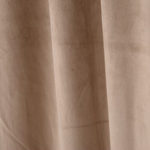 Luxury Edition - Extremely Soft Short Pile Panel Curtain with Hidden Loops in Tan Colour (Size in Cm 230 Drop x140 Width)