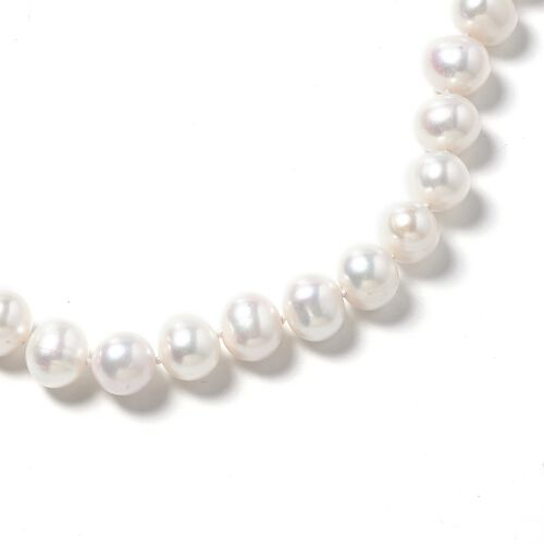 Limited Edition- AAA 9K White Gold Double Lustre Fresh Water White Pearl Necklace (Size 20)