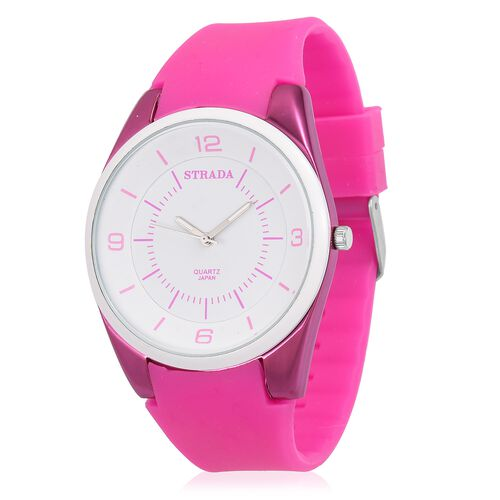 STRADA Japanese Movement White Dial Water Resistant Watch in Neon Rose Tone with Rose Colour Silicone Strap