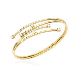 Italian Made - 9K Yellow Gold Cubic Zirconia Bangle (Size 7.0), Gold wt. 6.8 Gms