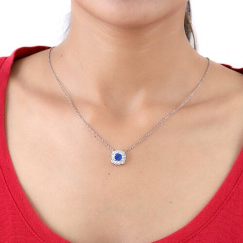 Tanzanian Blue Spinel and Natural Cambodian Zircon Pendant in Platinum Overlay Sterling Silver 2.25 Ct.
