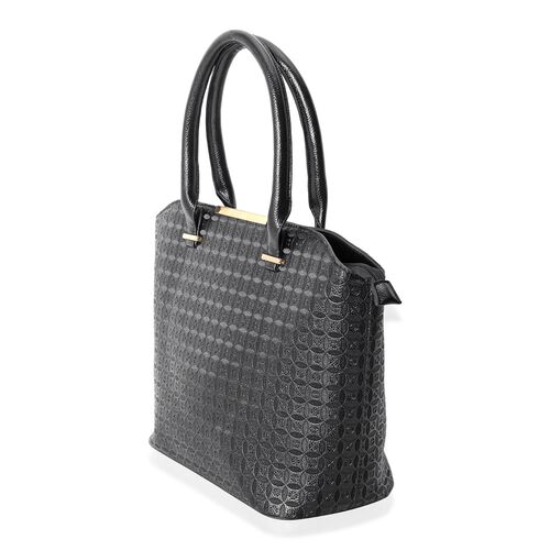 Set of 2- Classic Black Colour Large Tote Bag (Size 43x31x29x14.5 Cm) and Middle Size Bag (Size 33x24x22x8 Cm) with Removable Shoulder Strap.