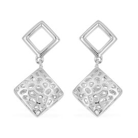WEBEX- RACHEL GALLEY Rhodium Plated Sterling Silver Lattice Earrings (with Push Back), Silver wt 4.1