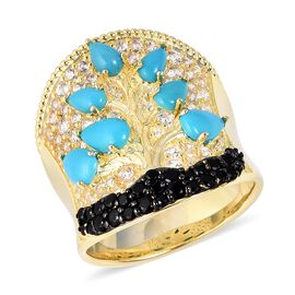 White Zircon (1.78 Ct),SLEEPING BEAUTY TURQUOISE,Thai Black Spinel Sterling Silver Ring  3.945  Ct.
