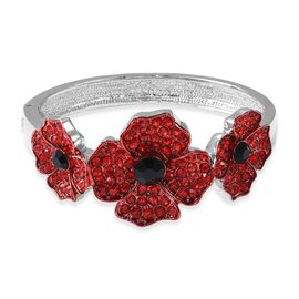 Poppy Design Red and Black Austrian Crystal Enamelled Poppy Flower Bangle 7 Inch