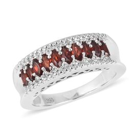 Mozambique Garnet (Mrq), Natural Cambodian White Zircon Ring in Rhodium Overlay Sterling Silver 1.325 Ct, Silver wt 5.54 Gms.