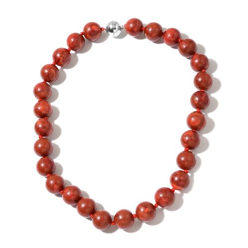 Coral (Rnd 15-16mm)  Necklace (Size 20) with Magnetic Clasp in Rhodium Plated Sterling Silver 461.000 Ct.