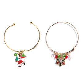 2 Piece Set - Multi Colour Austrian Crystal and Simulated Multi Gemstone Enamelled Santa Claus and S
