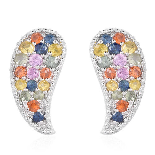 Rainbow Sapphire (Rnd) Leaf Stud Earrigns (with Push Back) in Rhodium Plated Sterling Silver 4.001 Ct. Silver wt 5.00 Gms.