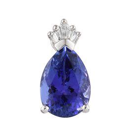 Rhapsody AAAA Tanzanite (Pear 2.45 Ct), Diamond 950 Platinum Crown Pendant 2.500 Ct.