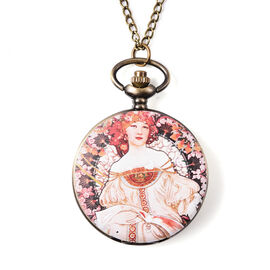 STRADA Japanese Movement Woman and Floral Pattern Pocket Watch with Chain (Size 31) in Antique Bronz