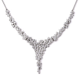 Value Buy- Swarvoski Close Out Deal- J Francis Rhodium Overlay Sterling Silver Necklace (Size 18) Ma