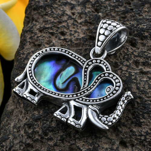 Royal Bali Collection Abalone Shell Elephant Pendant in Sterling Silver