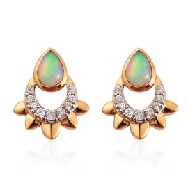 Ethiopian Welo Opal and Natural Cambodian Zircon Earrings in 14K Gold Overlay Sterling Silver 1.19 C