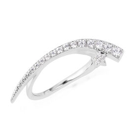 Isabella Liu Twilight Collection - Natural White Cambodian Zircon (Rnd) Ring In Rhodium Overlay Ster