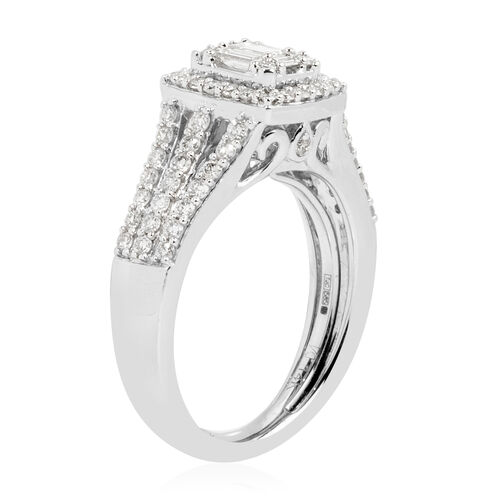 New York Close Out- 14K White Gold Diamond (Bgt and Rnd) (I1-I2/G-H) Ring 1.000 Ct. Gold wt 6.00 Gms.