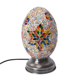 Handmade Turkish Multi Colour Glass Mosaic Dome Shape Table Lamp with Bronze Base (Size 16x16x27cm)