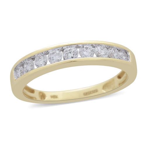 ILIANA 18K Y Gold SGL Certified Diamond (Rnd) (SI/G-H) Half Eternity Band Ring 0.500 Ct.