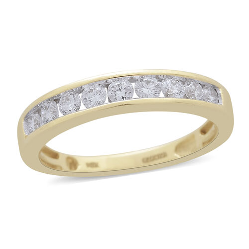 ILIANA 18K Yellow Gold IGI Certified Diamond (Rnd) (SI-GH) Half Eternity Band Ring 0.500 Ct.