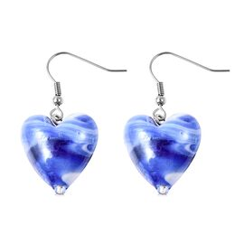 Blue Colour Murano Glass Heart Hook Earrings in Rhodium Overlay Sterling Silver