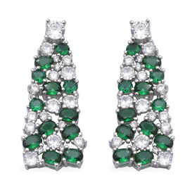 ELANZA Simulated Emerald, Simulated Diamond Earrings (with Push Back) in Rhodium Overlay Sterling Si