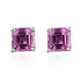 RHAPSODY 950 Platinum AAAA Pink Sapphire Stud Earrings (with Screw Back) 1.50 Ct.