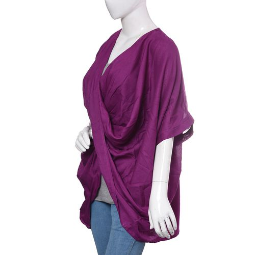 Close Out Deal-Purple Colour Cross Over Wrap Drape Top (Free Size)