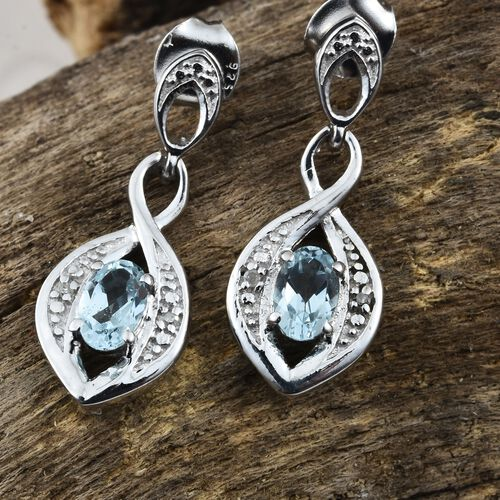 Sky Blue Topaz and Diamond Earrings (with Push Back) in Platinum Plated Silver Silver 1 Carat