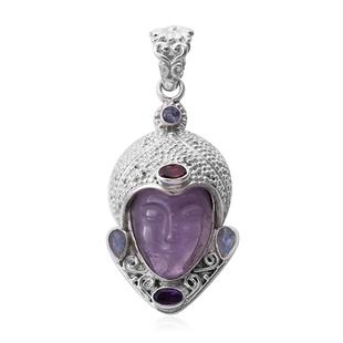 Sajen Silver GODDESS Collection- Amethyst and Multi Gemstone Devi Danu Handcarved Pendant in Sterlin