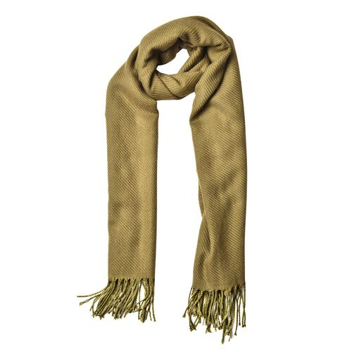 Italian Designer Olive Green Colour Stripes Pattern Scarf with Tassels (Size 180x65 Cm)