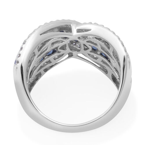 Kanchanaburi Blue Sapphire (Rnd), Natural White Cambodian Zircon Crossover Ring in Rhodium Overlay Sterling Silver 2.09 Ct, Silver wt 6.90 Gms