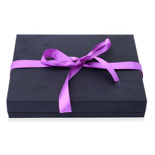 Luxury Black Necklace Gift Box With Purple Ribbon [22.1x17.1x4cm]