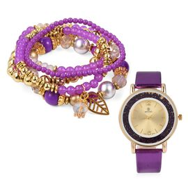 2 Piece Set - STRADA Watch with Purple Colour Strap and Beads Stretchable Bracelet Set