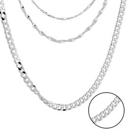 Italian Made - Sterling Silver Multi Chain Necklace (Size 15 with 2 inch Extender), Silver wt. 16.78