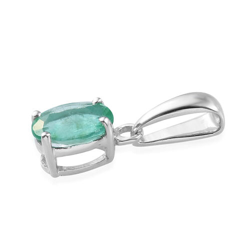 9K White Gold Boyaca Colombian Emerald (Ovl 6x4 mm) Solitaire Pendant 0.400 Ct.