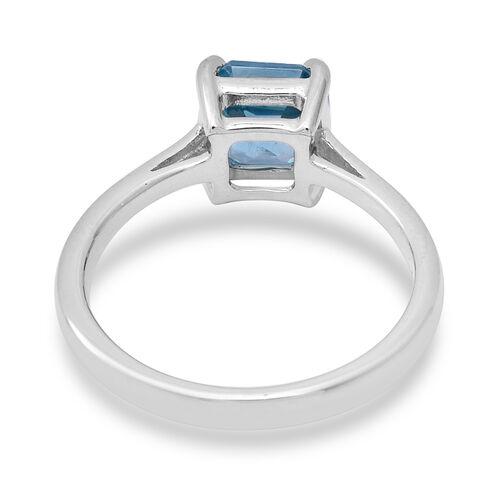 9K White Gold AAA Ratnakiri Blue Zircon (Asscher Cut7x7 mm) Solitaire Ring 2.40 Ct.