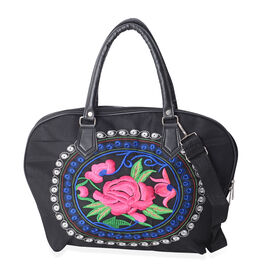 SHANGHAI COLLECTION Spring Edition Rose Embroidered Black Tote Bag with Removable Shoulder Strap (Si