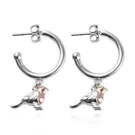Rose Gold and Platinum Overlay Sterling Silver Bird Hoop Earrings (with Push Back), Silver wt 5.89 G