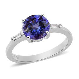 RHAPSODY 950 Platinum AAAA Tanzanite and Diamond (VS/E-F) Ring 1.60 Ct.