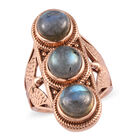 Labradorite Three Stone Ring (Size O) in Bronze 7.25 Ct.