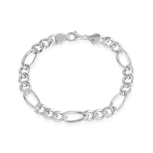 Sterling Silver Figaro Bracelet (Size 8), Silver wt 9.29 Gms.