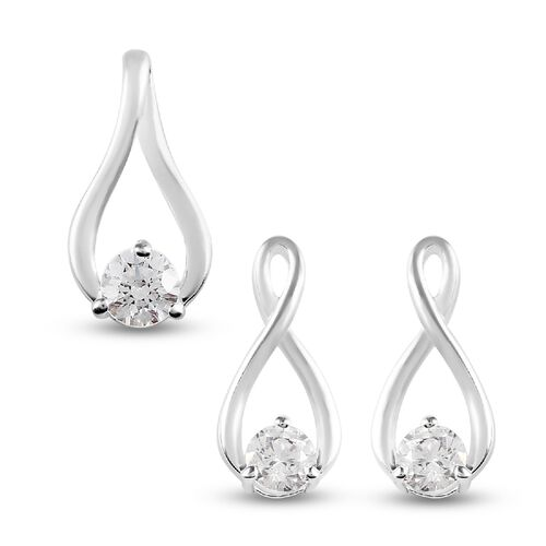 2 Piece Set J Francis Sterling Silver Pendant and Earrings (with Push Back) Made with SWAROVSKI ZIRC